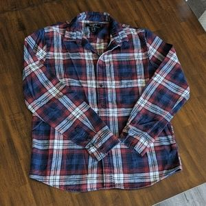 4/$20! Men's Blue/Red/White Flannel Button-Up Med